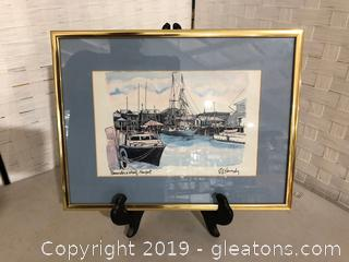 """Pen & Ink Drawing of """"Bannister's Whart, Newport By R.Kennedy"""