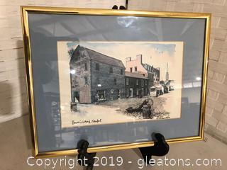"Pen & Ink Drawing of ""Bowen's Wharf"", Newport / R Kennedy"