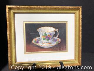 Framed Pansy Teacup Print by Barbara Mock