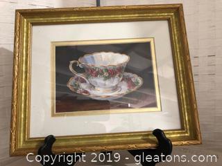 Framed & Matted Rose Teacup Print by Barbara Mock