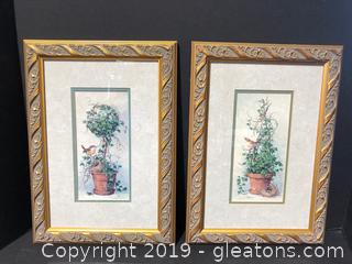 Pair Framed & Matted Spring Nesting Prints by Barbara Mock