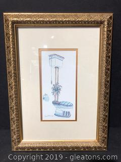 Pair Framed & Matted Toilet Art Print by Peggy Abrams