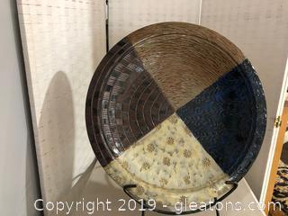 Multi-Colored Decorative Ceramic Accent Plate