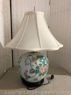 Colorful Asian-Inspired Floral Design Lamp