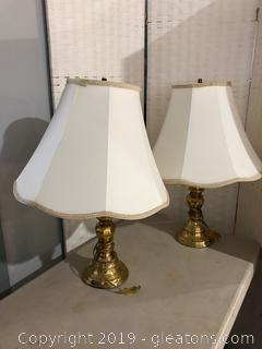 Pair of Brass-Colored Lamps with Cream Shades Trimmed in Brocade