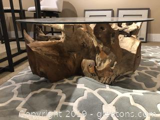 Round Driftwood Coffee Table by Ibolili
