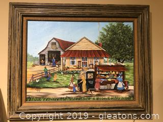 Framed Art Daily Farm Life by Artist B. Towery '86