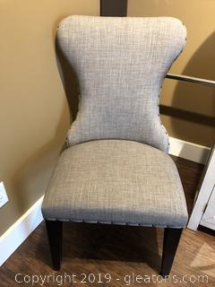 Gray Parson Chair W/Nailhead Trim