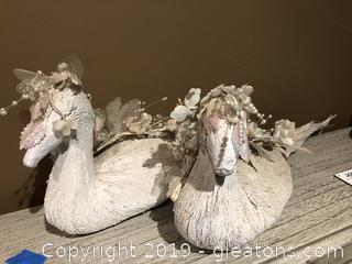 Pair of White Ducks Nice Christmas or Wedding Décor