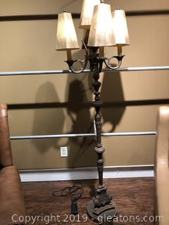"Gothic-Style Floor Lamp with 5"" Candelabra"" Top"