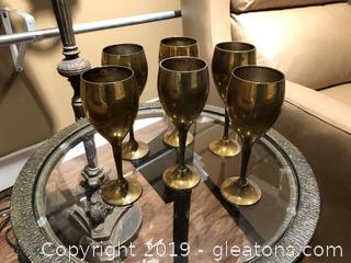 6 Solid Brass Goblets