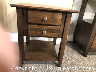 Small Dark Coffee Wood Finish Nightstand