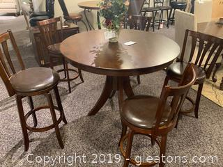 Rich Dark Wood Hi Top Bar Table W/(4) Bar Stools