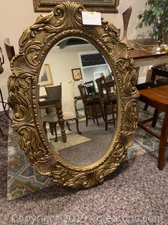 Magnificent Oval Shaped Gold Trim Mirror