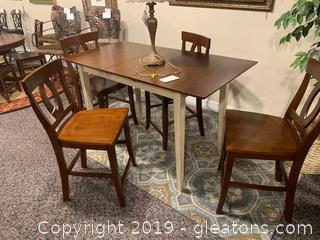 Dark Wood High Top Leaf TABLE/4 Bar Stools