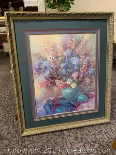 Blue Floral Framed Wall Art