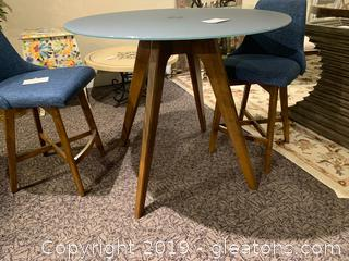 Hi Top Glass/Wood Dining Table