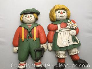 Raggedy Ann and Andy wall plaques