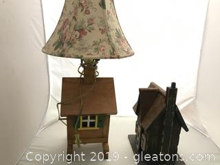 Bird house lamp and rustic bird house