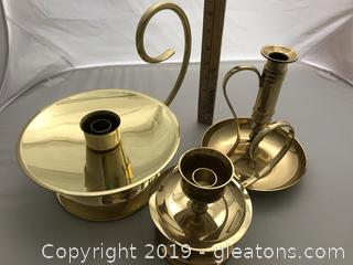 3 Stunning Brass Candle Holders with handles