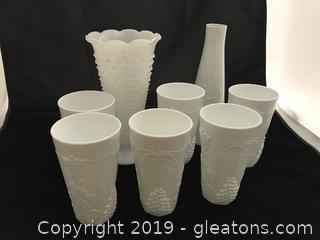 Milk glass lot