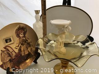 Dish lot, Gotham Doll Plate   Platter made in Germany, Avon milk glass