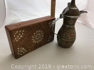 Tea pot made in India, carved wooden box with inlay