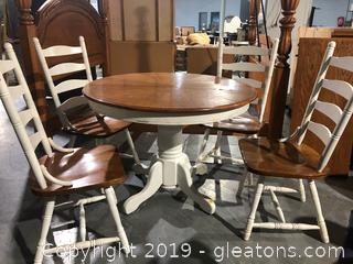 Round Farm House Table and Four Chairs with Extra Leaf