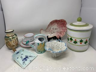 Nine-Piece Imported Italian Porcelain and Ceramic Collection
