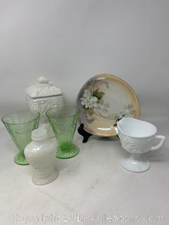 Mixed Milk Glass, Porcelain and Princess Goblets