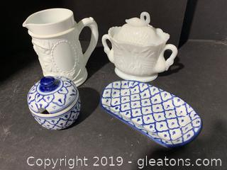 Two Blue and White Dishes and Two Pieces of Milk Glass