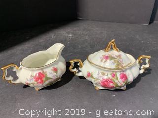 Beautiful Porcelain Sugar and Creamer Pair