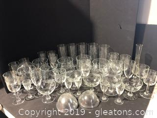 Large Set of Cut/Frosted Drinkware