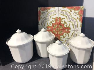 White Canister Set and Hot Pad