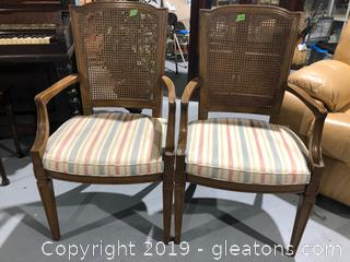 (2) Rattan Back Accent Chairs