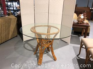 Rattan Frame Dining Table with Glass Top