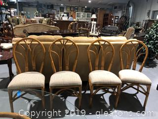 (4) Rattan Framed Chairs with Cushioned Seats