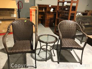 Two Rattan Chairs and Small Table.  Goes with Lot 8018