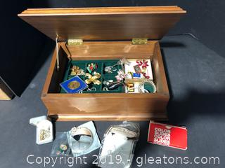Lot of Jewelry Box, Pins and Costume Jewelry