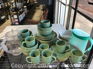 Lot of Home Trends Dishes, Corning Ware and Pitchers