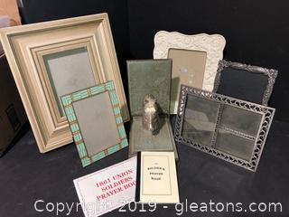 Mixed Lot of Frames, One Book End and Plastic Fruit