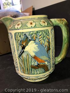 Large Hand Painted Ceramic Pitcher