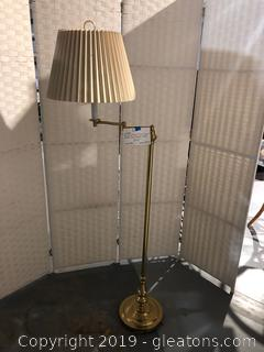 Shiny Brass Floor Lamp W/ Ivory Pleated Shade