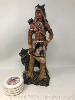 Native American Hunter W/Wolf and Set of Native American Coasters