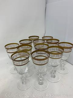 Lot of Tiffin Set of 12 Antique Cordial Glasses