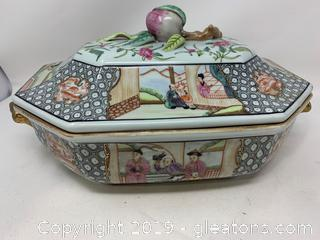 Asian Porcelain Casserole Dish with Lid