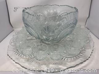 Beautiful Cut Glass Punch Bowl Set
