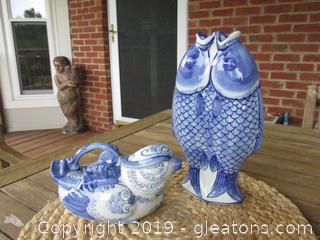 Blue &  White Double Fish Open Mouth Vase / Blue & White Bird TeaPot