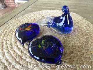 Cobalt Blown Glass Bird Figurine, 2 Cobalt Blown Heart Paperweights with gold flecks