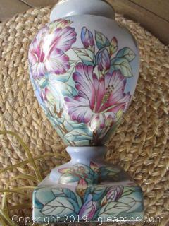 Beautiful Porcelain / Hand Painted Hummingbird with Flower Lamp 13 1/4 inches tall to where the light bulb is screwed in